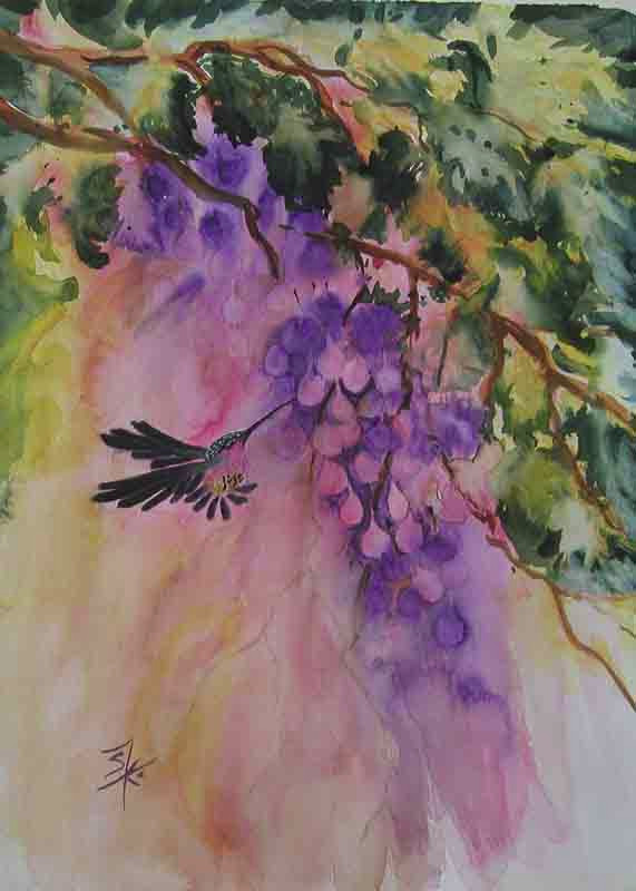 Berries and Hummingbird